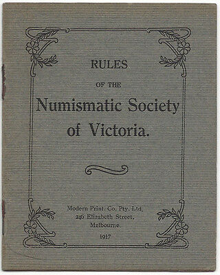RULES of the NUMISMATIC SOCIETY of VICTORIA 1917 - 8 page booklet