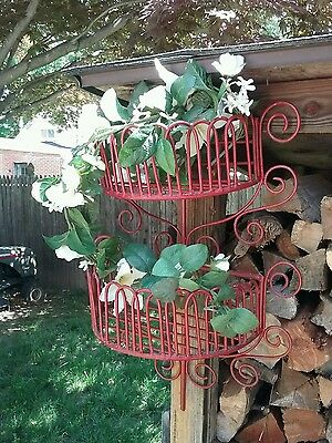 ☆Vintage Cage Style~Wrought Iron Planter Coated Metal Hanging Planter Wall Mount