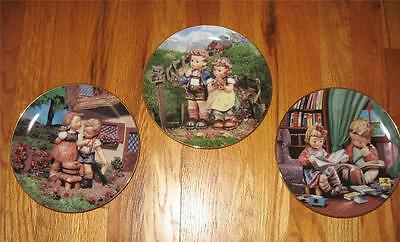 3 Danbury Mint Hummel Plates Squeaky Clean Country Crossroads Budding Scholars