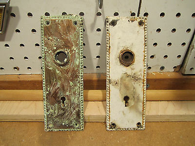 set of two unrestored vintage metal keyhole backplate plate escutcheons