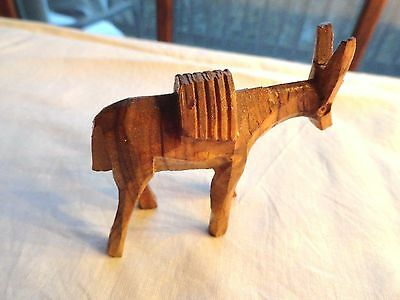 Interesting Small Carved Wooden Donkey