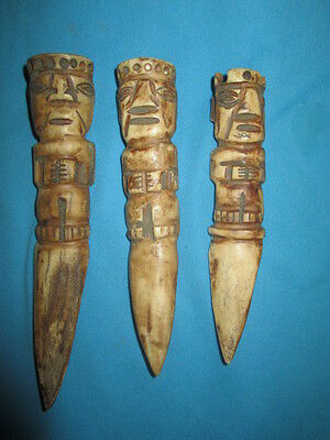 A batch of 3 items carved fine knives,mochica,precolumban,moche,character