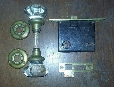 Vintage Antique 100 YEAR OLD Clear Glass Door Knobs / AND HARDWARE / CHURCH FIND