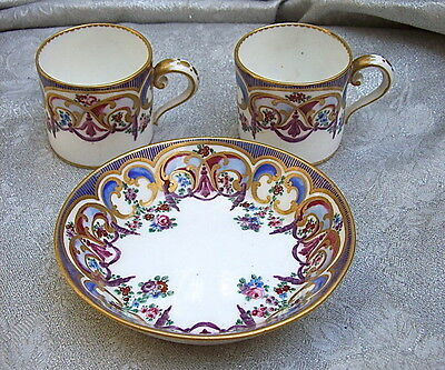 18th  Cent. FRANCE SEVRES PORCELAIN DISH and 2 CUPS-FLORAL GARLANDS /GOLD DECOR