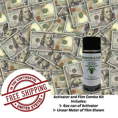 Hydrographic Film Water Transfer Hydro Dip 6Oz. Activator $100 Bills Dip Kit