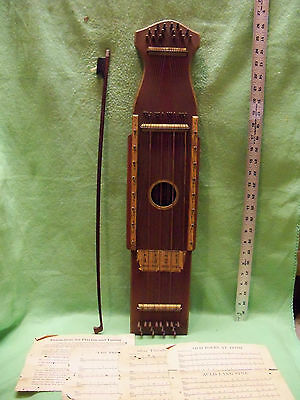 * Rare * Vintage Sophisticated Bowed Psaltery F.g. Hesier, Ft Smith, Ark Antique