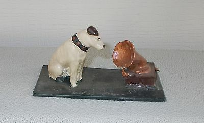 OLD Hand Painted Cast Lead Figure of Little Nipper RCA Dog w Victrola Marked USA