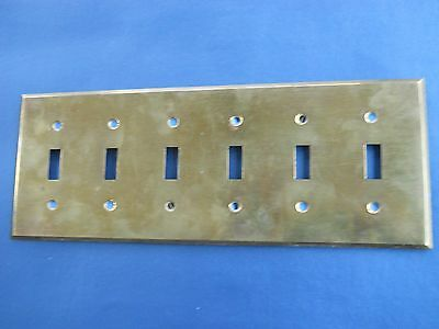 Vintage Solid Brass 6-gang Wall Switchplate- Arrow brand