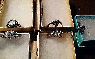 Lot Of 5 Blue Topaz 925 Sterling Silver Rings