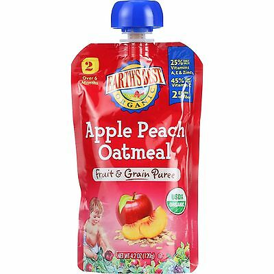 Earths Best Baby Food Organic Stage 2 Apple Peach Oatmeal 4.2 oz case of 12