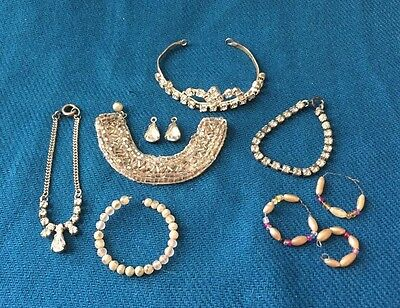 HTF 1950's Revlon Cissy Premier Doll Jewelry RHINESTONE NECKLACES TIARA EARRINGS