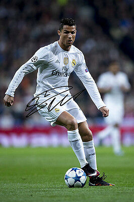 Cristiano Ronaldo Real Madrid Home Kit 2016/17 Signed Autographed Poster Print.