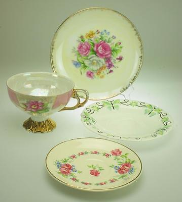 Lot of 4 Miscellaneous Porcelain Items Japanese Cup  2 Saucers, Side Plate VA181