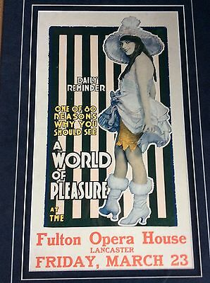 Fulton Opera House large Poster A WORLD OF PLEASURE 1917 Sigmund Romberg show