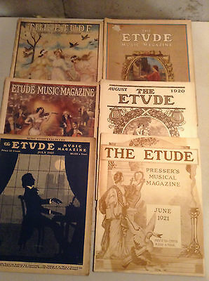 Lot Of 16 Vintage Etude Magazines,, 1914 To 1927 V/g. Cond.