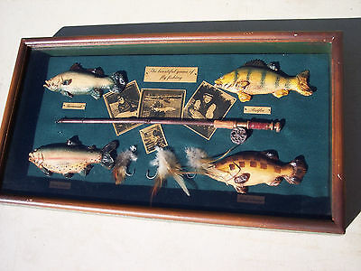 The Beautiful Game Of Fly Fishing Shadowbox Display Lures and Fish