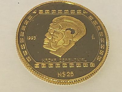 """1993 Mexico Gold .999 Coin N25 Pesos 1/4 Onza Proof """"HACHA CEREMONIAL"""" KM #585."""