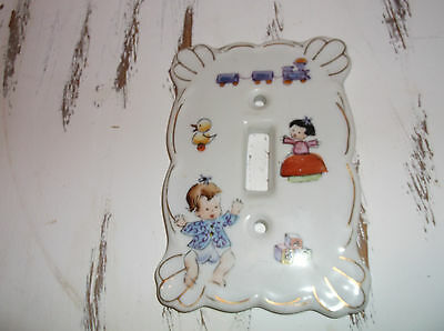 Vintage Kelvin's Nursery Porcelain Baby Single Light Switch Cover Kelvin Baby