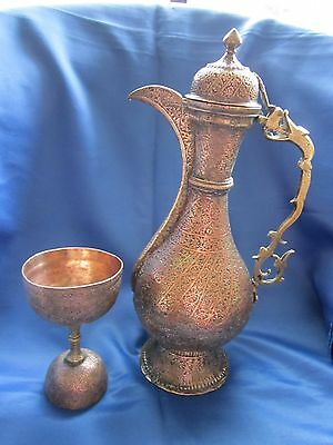 Antique Copper And Brass Wine Jug And Cup Show Piece Only