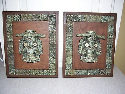 "Vintage Mayan? Artifact Plaques Wall Hangings  8"" x 10"""