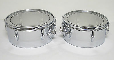"""RARE 70's SLINGERLAND CHROME Over BRASS 14"""" x 6"""" & 13"""" x 6"""" TIMBALES (Tom/Drums)"""