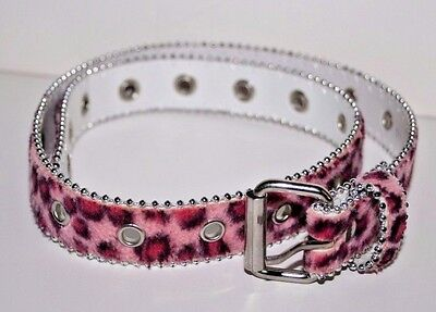 "Manmade Material Pink Animal Print Childs Belt  - 28"" Long - 1"" Wide"