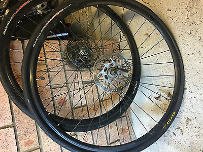 "29"" 700c F&R Wheels Maxxis Columbiere tyres, disc rotors, 9 speed gears wheelset"
