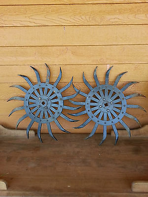 2-Antique Black Iron Metal Spiked Industrial Age Decor Steampunk Wheel-Gears
