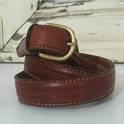 MANUEL FANTONI Made in Italy VERO CUOIO Brown Genuine LEATHER Belt UNISEX