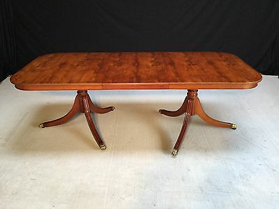 Beautiful Regency Style Burr Yew Tree Dining, Pro Hand French Polished
