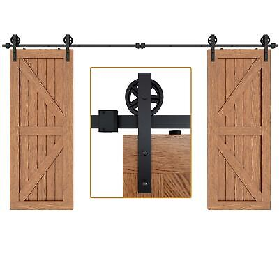 6/6.6/8/10/12 FT Industrial Spoke Wheel Sliding Barn Door Hardware Track Kit