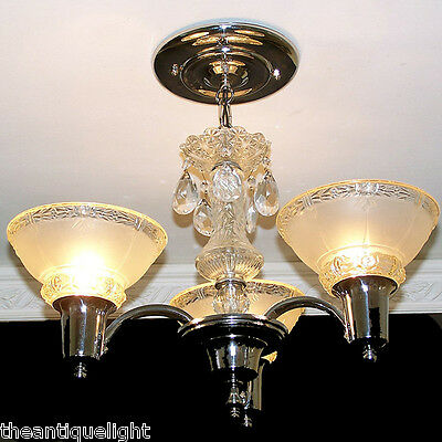 574 Vintage 40s 50s Ceiling light Lamp fixture glass chome Chandelier Re-Wired