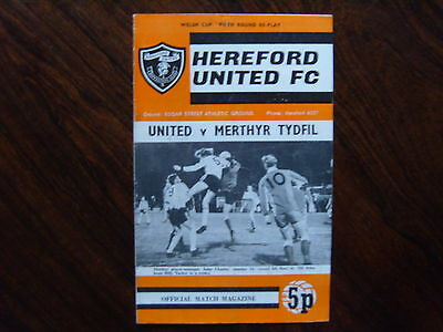1972/73  HEREFORD UNITED v MERTHYR TYDFIL  WELSH CUP 5th Rd REPLAY  14/02/1973