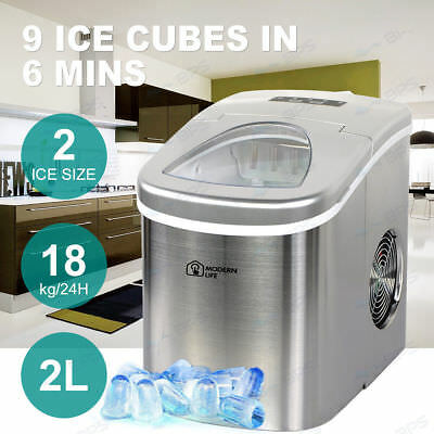 2L Ice Cube Maker Machine Auto Fast Easy Benchtop Portable Freezer Home Silver