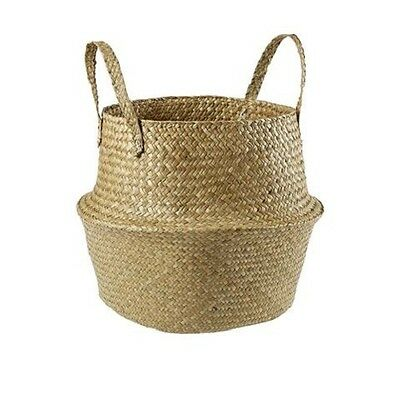Seagrass Storage Basket Foldable with handles 5kg Capacity Kitchen Bathroom Home