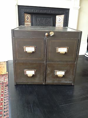 Vintage, Roneo Metal Filing Cabinet Boho Chic Designer Collectable - with key