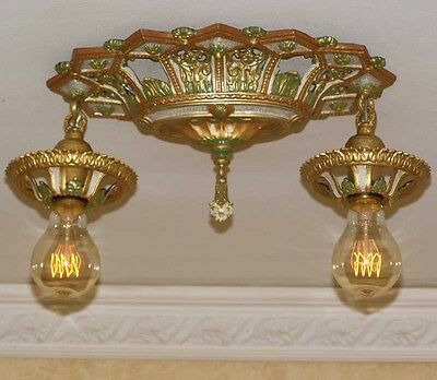 874 20's 30s aRT NOUVEAU Ceiling Lamp 2 Light  POLYCHOME {{BEAUTIFUL}}