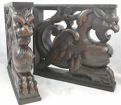 Pair of antique architectural french corbel carved wood of oak  chimera griffins