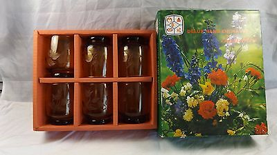 Vintage Set of 6 x Delux Hand Engraved Amber Glass Tumblers ~ Made Indonesia