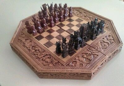 ORNATE DECORATIVE CHESS BOARD .ORIENTAL STYLE. Wood inlay and intricate carving.