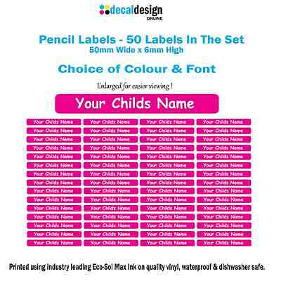 50 x Personalised Vinyl Name Pencil Label stickers 50mm x 6mm