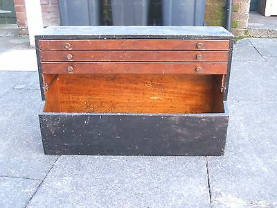 vintage wooden tool box with 3 drawers