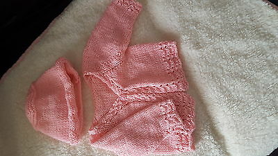 0-3 months pink knitted cardigan and hat