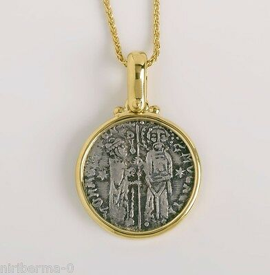 Medieval Silver Coin Two Figures Authentic Coin Pendant for Men Women, 18K Gold