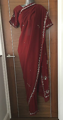 New Deep Red Bollywood Designer Lengha Party Wedding Bridal Saree With Blouse
