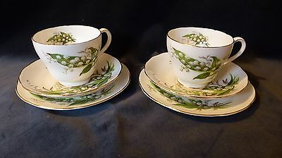 Vintage Adderley Bone China Lilly of the Valley Cup, Saucer & Side Plate Trio