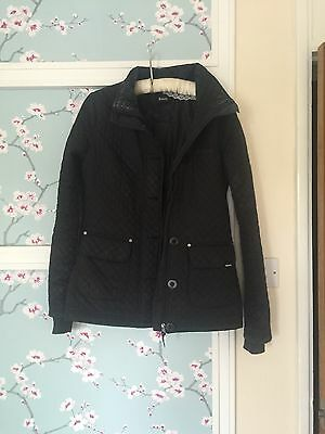 Bench Ladies Size 8 Coat Black Quilted Button And Zip Up Pockets Padded