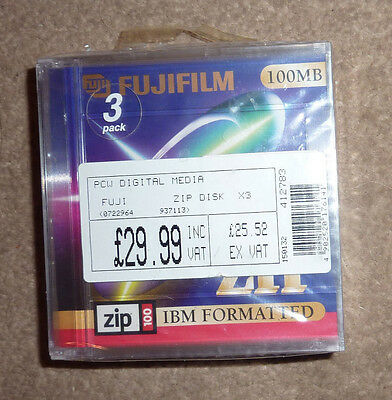 Sealed Packet of 3 Fujifilm Zip Disks 100 MB IBM Formatted