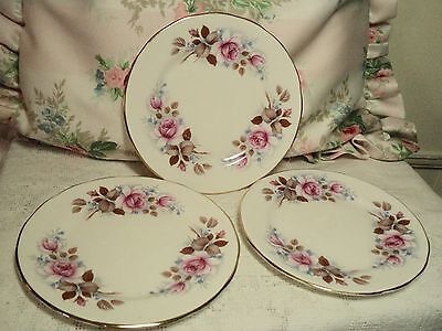 Queen Anne Fine Bone China floral pattern bread & butter plates x 3 pink roses
