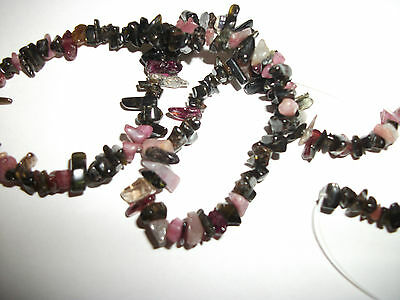 "Craft Clearance- Gemstone Bead Strand-15"" Temp. Strung Multi Tourmaline Chips"